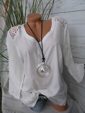 Paola Shirt Tunika Damen Gr. 38 bis 54 weiß Ton mit Spitze (865)
