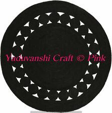 Dhurrie Round Jute Mat Indian 4 x 4 ft Braided Floor Handmade Cotton Rag Rugs