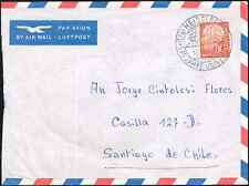 2453 GERMANY TO CHILE AIR MAIL COVER 1961 HEUSS SPECIAL CANCEL HEIDELBERG - SGO.