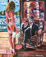 Cigar Man Cave Babe Original Art Painting DAN BYL Contemporary Modern 4x5ft