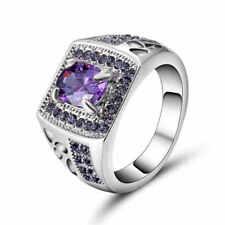 Size 8 (purple)Amethyst 10K white Gold Filled Men Women Fashion Wedding Ring