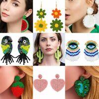 Fashion Boho Glass Seed Bead Tassel Stud Earrings Drop Dangle Bohemia Women Gift