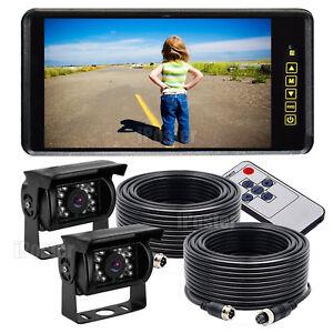 "HD 9"" Rear View Mirror Monitor Caravan 4PIN 2x Sharp CCD Reversing Camera+2x 10m"
