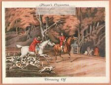 """Fox Hunting With Hounds """"Throwing Off"""" After Alken Dog 1930s Ad Trade Card"""