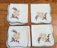 Set of 4 Vintage Embroidered Napkins Peach Daisy Flowers Gray Hem Stitching EC
