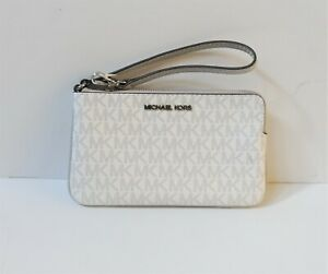 MICHAEL KORS JET SET TRAVEL LARGE TOP ZIP WRISTLET MK SIGNATURE WHITE/GREY