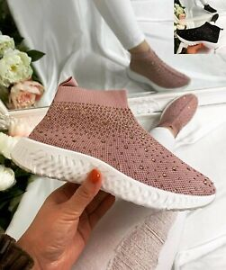 WOMENS LADIES KNIT TRAINERS SLIP ON SPORT SNEAKERS CASUAL RUNNING DIAMANTE SHOES
