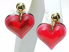 Authentic LALIQUE France RED Dangle Heart Coeur Crystal Post Earrings