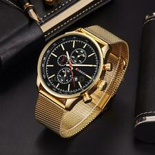 CURREN Men Watches Metal Mesh Strap Analog Date Dial Quartz Wrist Watch Gold
