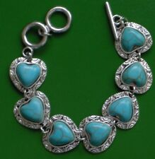 6.5-7.5 TURQUOISE CARVED HEART ANTIQUE SILVER SWEETHEART BRACELET
