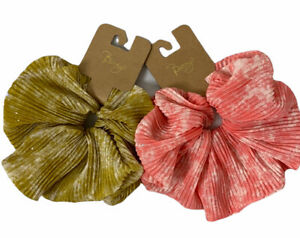 Berry Oversized Scrunchie Set--Pink and Mustard