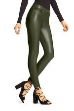 HUE Leatherette Faux Leather Leggings Shadow Olive Size XL NWT $48