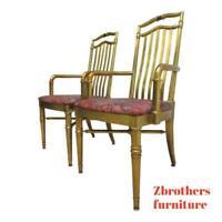 Pair Drexel Gold Regency Decorator Arm Chairs A