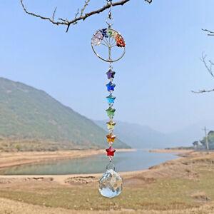 Hanging Crystal Suncatcher Pendant Metal Tree of Life Prism Rainbow Decor 40cm