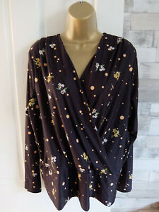 TALL DOROTHY PERKINS ● size 14 ● black yellow wrap blouse top womens ladies