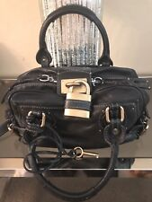CHLOE Paddington Handbag in Black with Signature Gold Lock and Key Authentic