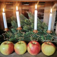 4er Set Kerzenhalter Metall Stern Rost Edelrost Pick zum Stecken Dorn Advent