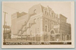 Dubuque Iowa~Majestic Theatre~Matinee Today~Posters~Livery Stable~c1915 RPPC