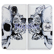 Bcov White Floral Skull Slot Wallet Leather Cover Case for Samsung Galaxy Note 3