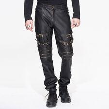 Mens Faux Leather Pants Jeans Black Goth Dieselpunk Spike Trousers Devil Fashion