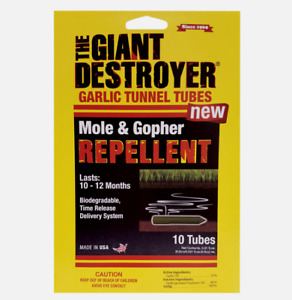 Atlas THE GIANT DESTROYER Garlic Tunnel Tubes MOLE/GOPHER Repellent 10 pack 410