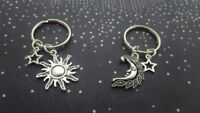 2pcs My Moon and Sun Star Keychain Set Pair Couples Best Friend His Hers Jewelry