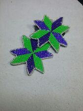 NATIVE AMERICAN BEADWORK - Star Quilt Earrings