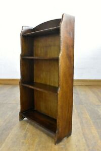 Antique vintage oak open waterfall graduating bookcase - display shelving