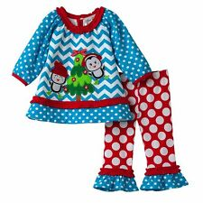 NWT Girls 2T RARE EDITIONS Holiday Christmas Penguin Tunic and Pants Set