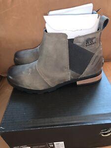 NIB Sorel Women's Emelie Chelsea - Quarry Gray Black Waterproof Boot - size 10
