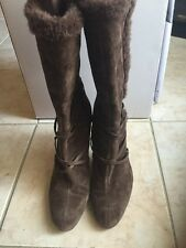 Nine West Suede Brown Mid-Calf boots Sz 7.5