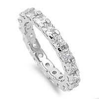 Princess White CZ Eternity Wedding Band Ring .925 Sterling Silver Sizes 5-10 NEW