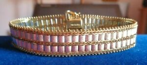 14k Imperial Gold Two Tone Double Row Satin Lame Bracelet 22.5 G ~ New in Box