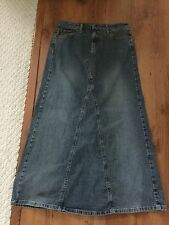l.e.i. Size 9 Long Modest Stretchy Denim Blue Jean Skirt No Slits EUC Maxi Aline
