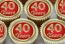24 X 40TH BIRTHDAY ANNIVERSARY EDIBLE CUPCAKE TOPPERS CAKE WAFER RICE PAPER 1151