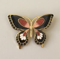 Vintage cloisonne butterfly Cloisonne  brooch pin in enamel on gold metal