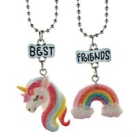 2 Stk / Set Einhorn Anhänger Halsketten für Kinder beste Freunde Halskette S Neu