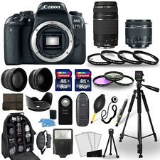 Canon EOS 77D DSLR Camera + 18-55mm STM + 75-300mm + 30 Piece Accessory Bundle