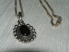 Estate Thin Mesh Silvertone Chain w Black Plastic Oval in Half Bead Frame Pendan