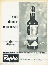 PUBLICITE ADVERTISING 115  1958  ST Raphael  apéritif  RAPHA