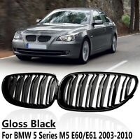 Dual Line Front Kidney Grill Grille For BMW E60 E61 525i 5 Series M5 Gloss Black
