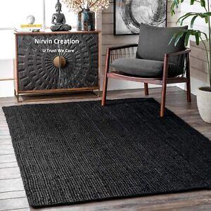 Rug Jute Black Natural Style Rug 2x3 Feet Reversible Braided Modern Rustic Look