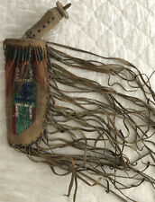 Native American Plains Indians Knife & Beaded Sheath Scabbard Quills Leather