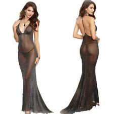 Black Sexy Mesh Perspective V Neck Pajamas Brief Set Dress Long Robes Nightwear