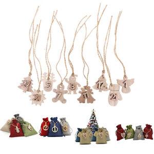 Christmas Advent Calendar Bags 24 Days Embellishments 1-24 Wooden Listing LabeSG