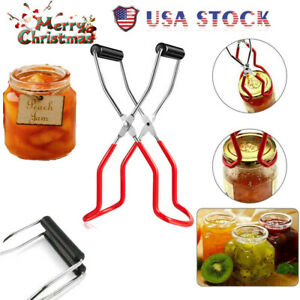 Easytoy 4PCS Canning Tool Kits Canning Jar Lifter with Grip Handles and 2 Size Stain Stainless Steel Funnel,Sponge Jar Brush Compatible with Wide Mouth and Regular Jars for Home Canning Supplies