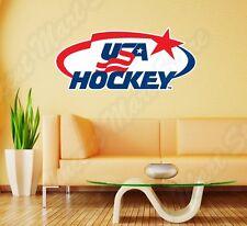 "United States USA Ice Hockey Team Wall Sticker Room Interior Decor 25""X12"""