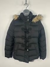 Womens Gap Black Casual Down Padded Winter Puffer Rain Coat Hood Jacket Size M