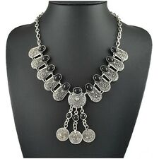 Fashion Design Tibet Ethnic Silver Coin Black Resin Collar Pendant Necklace