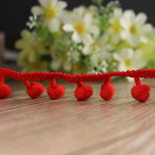 Red Extra Jumbo Pompom Fringe Dangling Lace Trim Ruffle Braid Giant Fluff Ball
